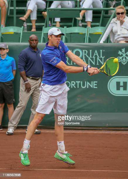 Sam Querrey hits the return during the Men's Clay Court Quarterfinals singles match on April 12, 2019 at River Oaks Country Club in Houston, Texas.