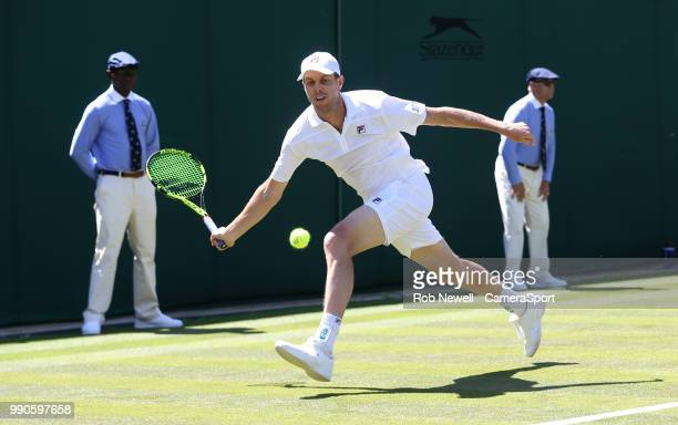 Sam Querrey in action against Jordan Thompson during their first round match at All England Lawn Tennis and Croquet Club on July 2, 2018 in London,...