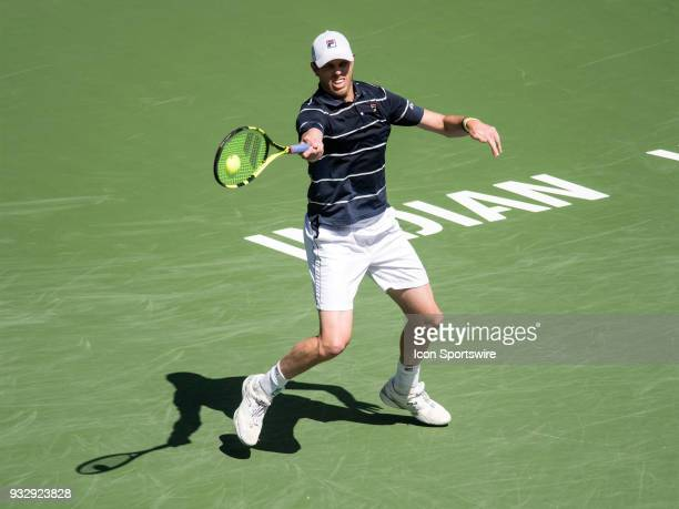 Sam Querrey in action during his men's singles loss to Milos Raonic during the BNP Paribas Open on March 16, 2018 at the Indian Wells Tennis Garden...