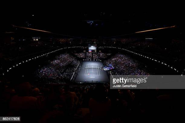 Sam Querrey of Team World during his singles match against Roger Federer of Team Europe on Day 2 of the Laver Cup on September 23 2017 in Prague...