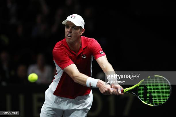Sam Querrey of Team World plays a backhand during his singles match against Roger Federer of Team Europe on Day 2 of the Laver Cup on September 23...