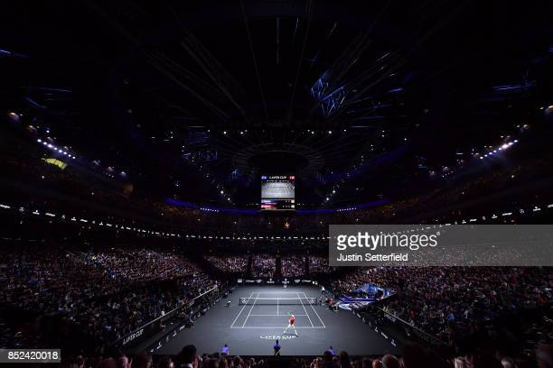Sam Querrey of Team World plays a forehand during his singles match against Roger Federer of Team Europe on Day 2 of the Laver Cup on September 23...