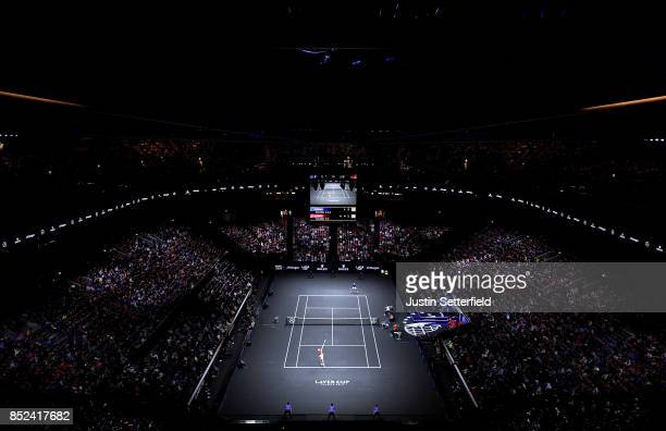 Sam Querrey of Team World serves during his singles match against Roger Federer of Team Europe on Day 2 of the Laver Cup on September 23 2017 in...