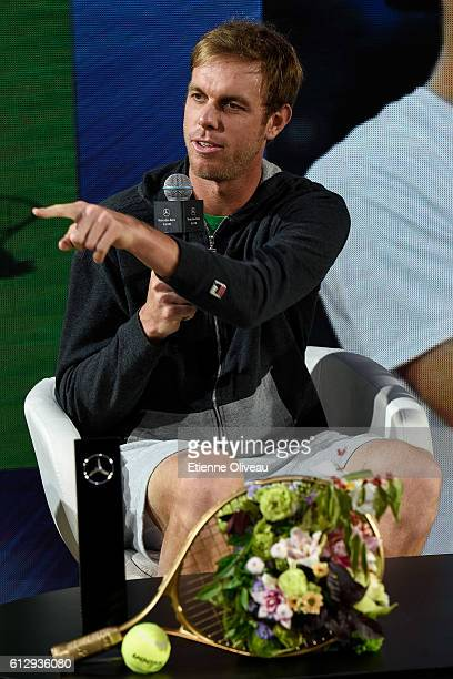 Sam Querrey of the United States attends an event at the Mercedes booth on day six of the 2016 China Open at the China National Tennis Centre on...