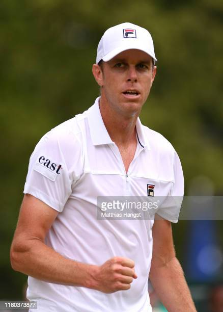 Sam Querrey of The United States celebrates in his Men's Singles third round match against John Millman of Australia during Day six of The...