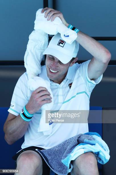 Sam Querrey of the United States cools down in his second round match against Marton Fucsovics of Hungary on day four of the 2018 Australian Open at...