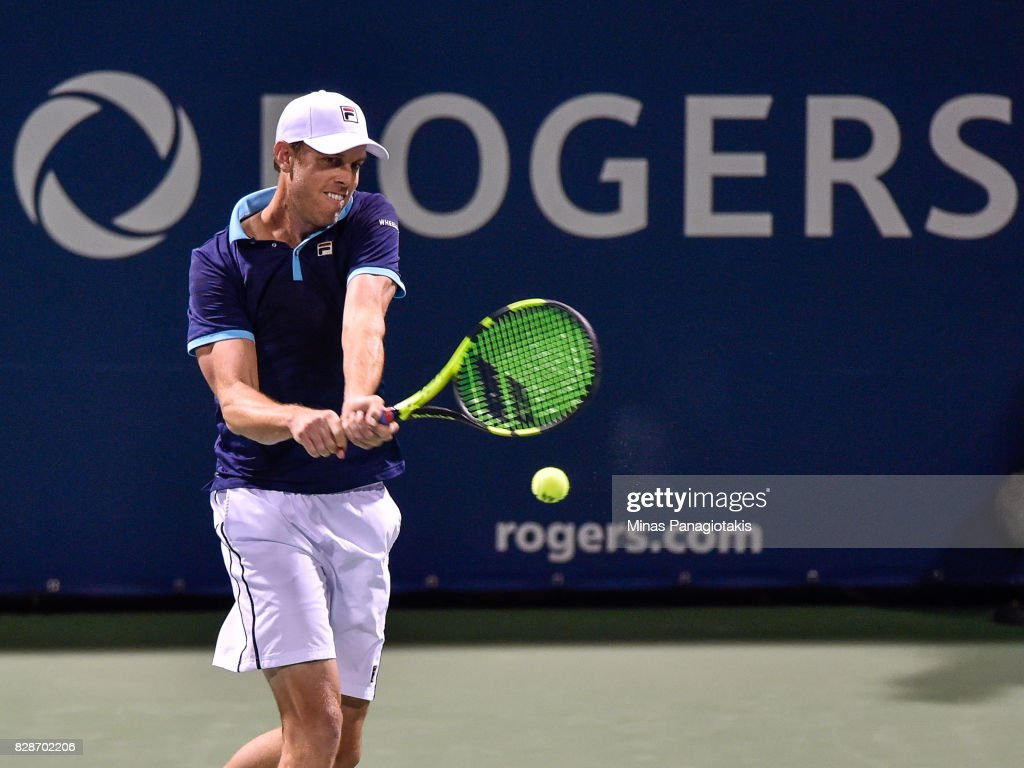 Sam Querrey of the United States hits a return against Jo-Wilfried Tsonga of France during day six of the Rogers Cup presented by National Bank at Uniprix Stadium on August 9, 2017 in Montreal, Quebec, Canada.
