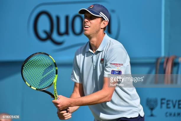 Sam Querrey of the United States in action during the first round match against Jay Clarke of Great Britain during Day one of the FeverTree...