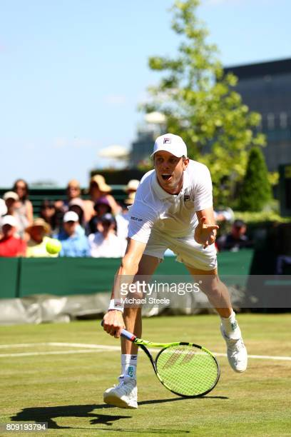 Sam Querrey of The United States plays a backhand during the Gentlemen's Singles second round match against Nikoloz Basilashvili of Georgia on day...