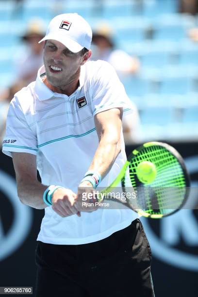 Sam Querrey of the United States plays a backhand in his second round match against Marton Fucsovics of Hungary on day four of the 2018 Australian...