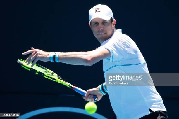 Sam Querrey of the United States plays a forehand in his first round match against Feliciano Lopez of Spain on day two of the 2018 Australian Open at...