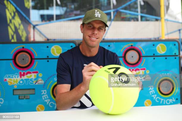 Sam Querrey of the United States poses at Autograph Island during day one of the 2018 Australian Open at Melbourne Park on January 15 2018 in...