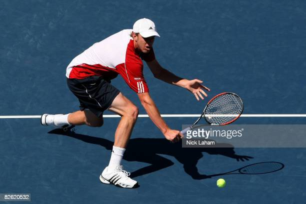 Sam Querrey of the United States reaches for a return against Rafael Nadal of Spain during Day 8 of the 2008 US Open at the USTA Billie Jean King...