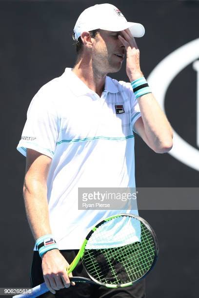 Sam Querrey of the United States reacts in his second round match against Marton Fucsovics of Hungary on day four of the 2018 Australian Open at...