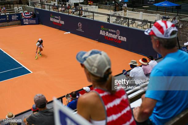 Sam Querrey of the United States returns a ball during the singles match against Tommy Paul of the United States during the DraftKings All-American...