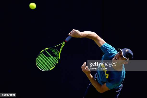 Sam Querrey of the United States serves during a practice session ahead of the Aegon Championships at Queens Club on June 16 2017 in London England