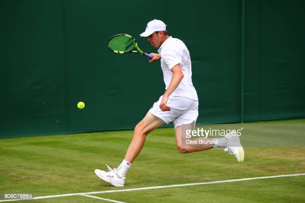 Sam Querrey of the United States watches the ball during the Gentlemen's Singles first round match against Thomas Fabbiano of Italy on day one of the...