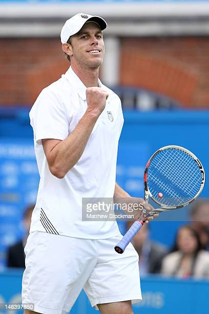 Sam Querrey of the USA celebrates match point during his mens singles quarterfinal round match against Ivan Dodig of Croatia on day five of the AEGON...