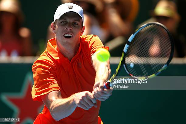 Sam Querrey of the USA plays a backhand in his quarterfinal match against Jesse Levine of Canada during day four of the Heineken Open at the ASB...