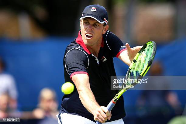 Sam Querrey of USA comes to the net during his men's singles match against Emesto Escobedo of USA during day two of the ATP Aegon Open Nottingham at...