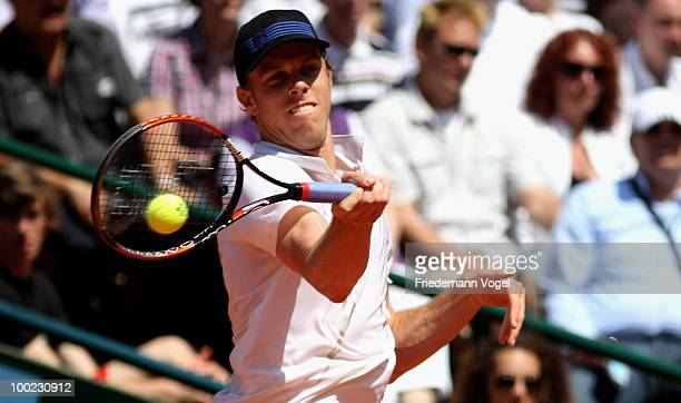 Sam Querrey of USA in action during his final match against Juan Monaco of Argentina during day seven of the ARAG World Team Cup at the Rochusclub on...