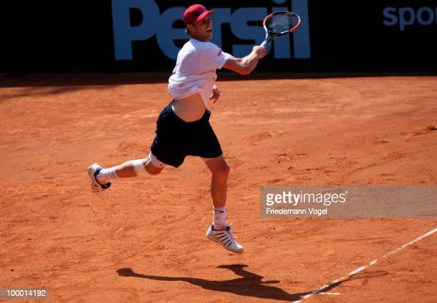 Sam Querrey of USA in action during his match against Jan Hajek of Czech Republic during day five of the ARAG World Team Cup at the Rochusclub on May...