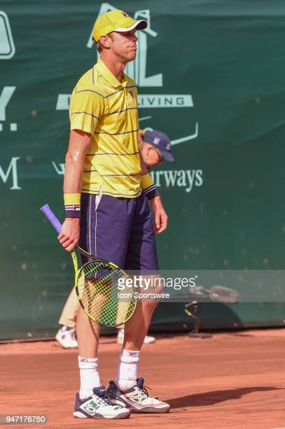 Sam Querrey reacts to a ball called out during his match against Guido Pella during the 2018 US Men's Clay Court Tennis Championships on April 11...