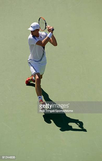 Sam Querrey returns a ball from Kevin Kim during day four of the 2009 U.S. Open at the USTA Billie Jean King National Tennis Center on September 3,...