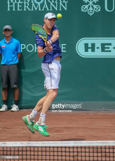 Sam Querrey watches his return during the Men's Clay Court Championship Semifinals singles match on April 13, 2019 at River Oaks Country Club in...