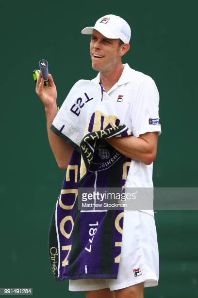 Sam Querry of The United States during his Men's Singles second round match against Sergiy Stakhovsky on day three of the Wimbledon Lawn Tennis...
