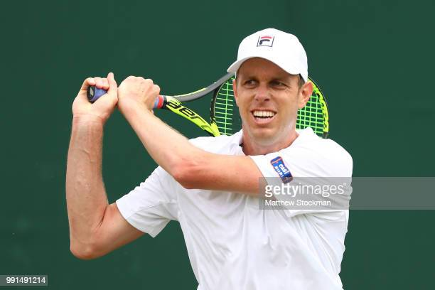Sam Querry of The United States in action against Sergiy Stakhovsky of Ukraine during their Men's Singles second round match on day three of the...
