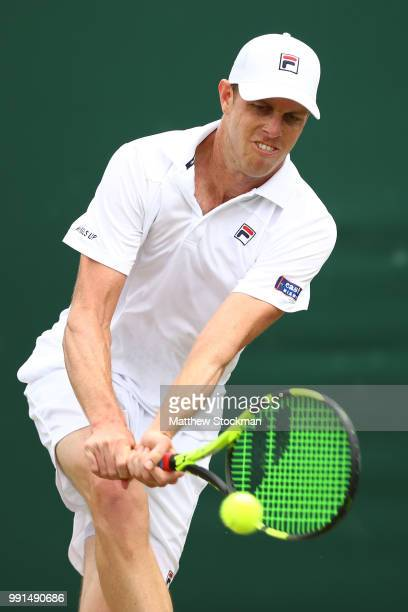 Sam Querry of The United States returns against Sergiy Stakhovsky of Ukraine during their Men's Singles second round match on day three of the...