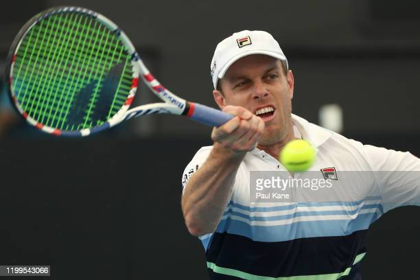 Sam Querry of the USA plays a forehand to Andrey Rublev of Russia during day four of the 2020 Adelaide International at Memorial Drive on January 15,...