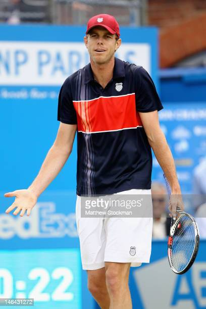 Sam Querry of the USA shows his frustration during his mens singles semi-final match against Marin Cilic of Croatia on day six of the AEGON...