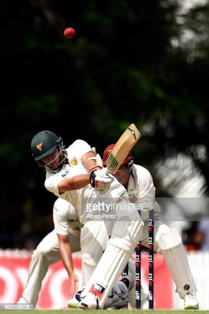 Sam Rainbird of Tasmania bats during day three of the Sheffield Shield Final match between Queensland and Tasmania at Allan Border Field on March 25...