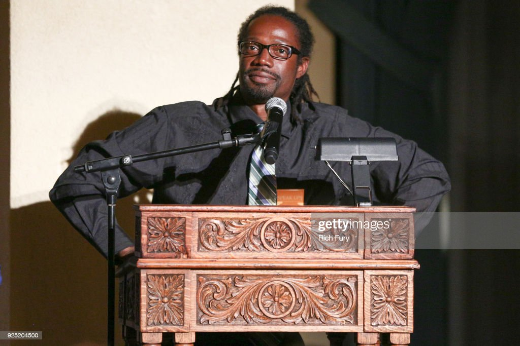 Sam Randolph speaks onstage during the Stories From The Front Line charity program at the Ebell of Los Angeles on February 27, 2018 in Los Angeles, California.
