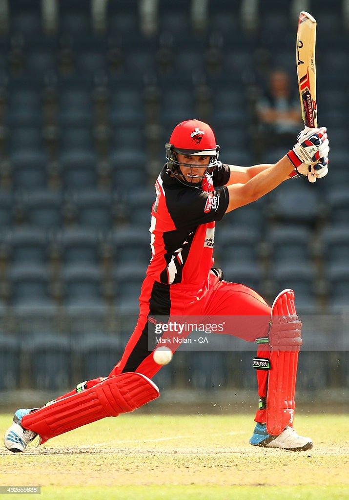 Sam Raphael of the Redbacks bats during the Matador BBQs One Day Cup match between South Australia and Tasmania at Blacktown International Sportspark on October 14, 2015 in Sydney, Australia.