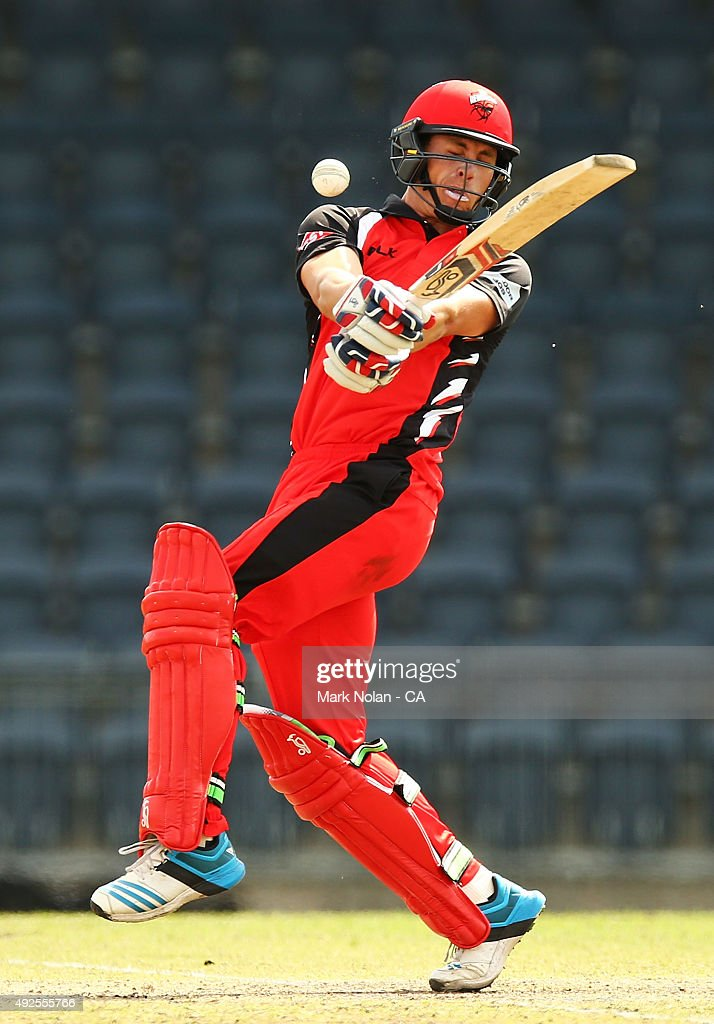 Sam Raphael of the Redbacks is hit by the ball during the Matador BBQs One Day Cup match between South Australia and Tasmania at Blacktown International Sportspark on October 14, 2015 in Sydney, Australia.