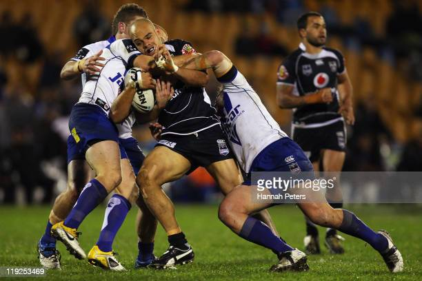 Sam Rapira of the Warriors charges forward during the round 19 NRL match between the Warriors and the Canterbury Bulldogs at Mt Smart Stadium on July...