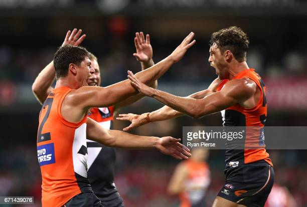 Sam Reid and Jonathon Patton of the Giants celebrates a goal during the round five AFL match between the Sydney Swans and the Greater Western Sydney...