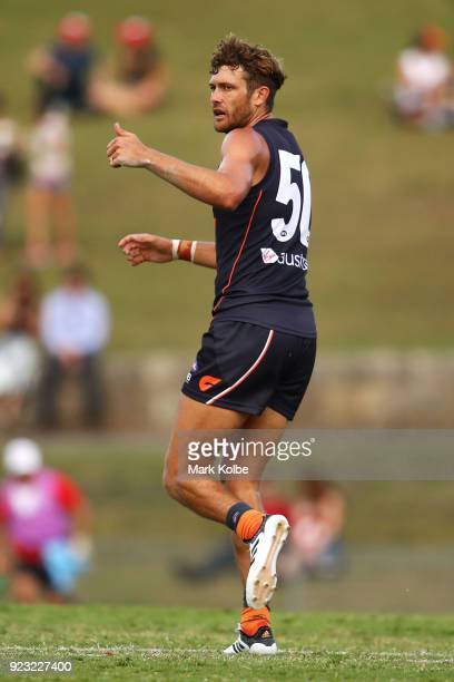 Sam Reid of the Giants celebrates scoring a goal during the AFL Inter Club match between the Sydney Swans and the Greater Western Sydney Giants at...