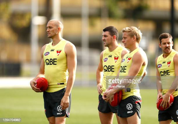 Sam Reid of the Swans trains during a Sydney Swans AFL training session at Lakeside Oval on July 07 2020 in Sydney Australia