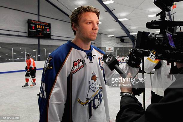 Sam Reinhart is interviewed during the Top Prospect Clinic as part of the 2014 NHL Entry Draft at Scanlon Rink on June 26 2014 in Philadelphia...