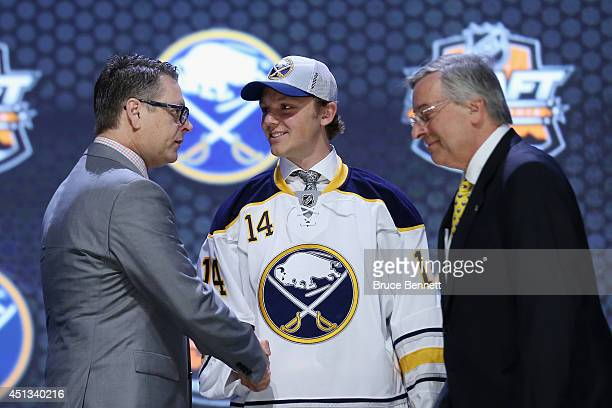 Sam Reinhart is selected second overall by the Buffalo Sabres in the first round of the 2014 NHL Draft at the Wells Fargo Center on June 27 2014 in...