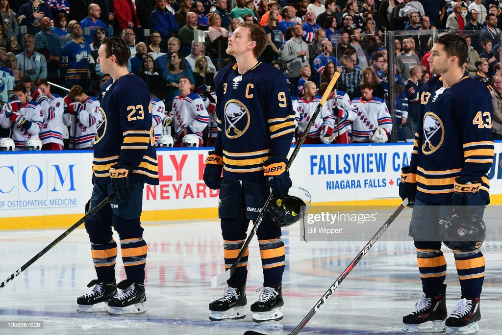 Sam Reinhart, Jack Eichel and Conor Sheary of the Buffalo Sabres