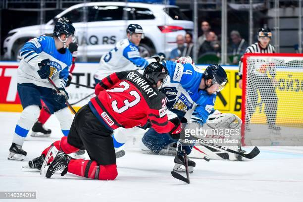 Sam Reinhart of Canada shots past Mikko Lehtonen of Finland during the 2019 IIHF Ice Hockey World Championship Slovakia final game between Canada and...