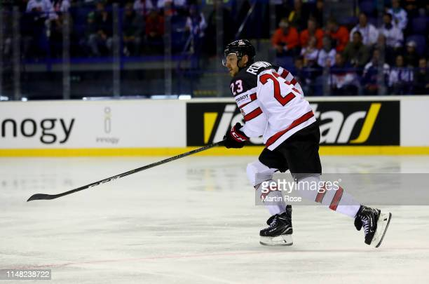 Sam Reinhart of Canada skates against Finland during the 2019 IIHF Ice Hockey World Championship Slovakia group A game between Finland and Canada at...
