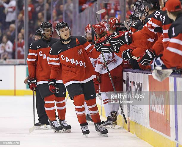 Sam Reinhart of Team Canada celebrates a goal against Team Denmark during a quarterfinal game in the 2015 IIHF World Junior Hockey Championship at...