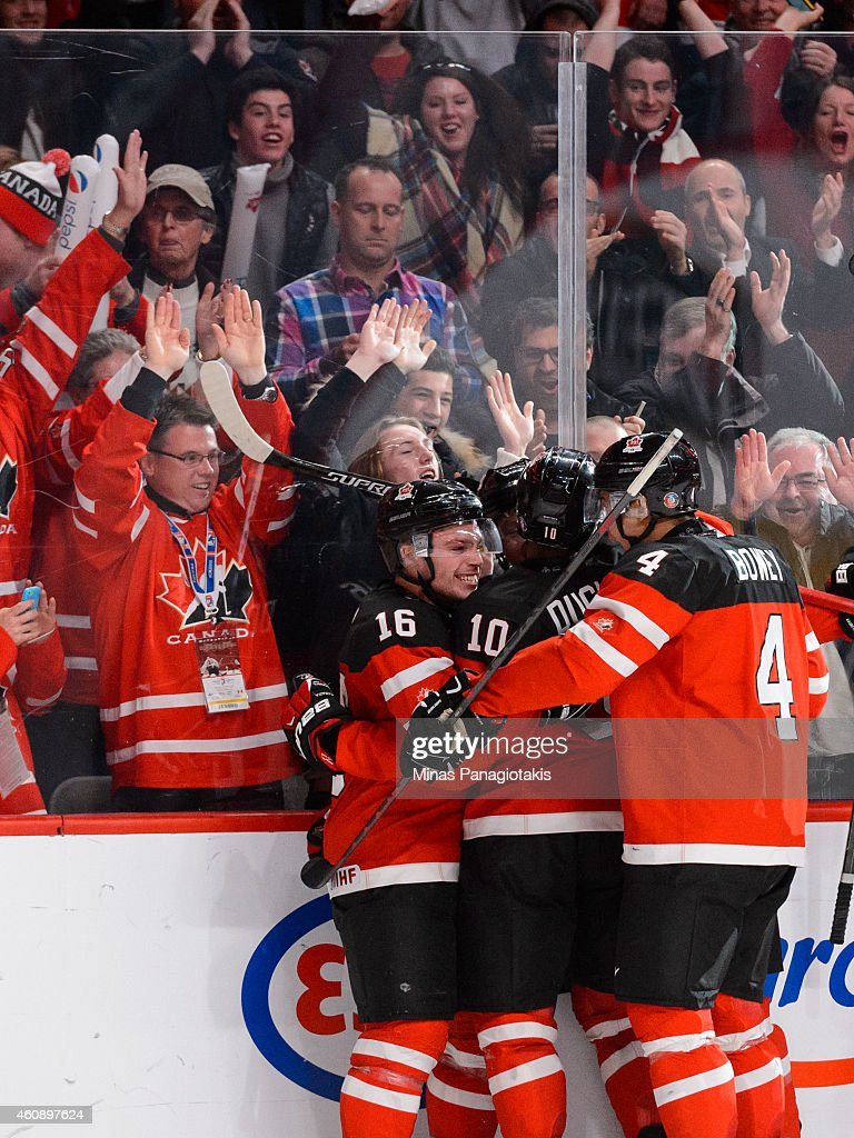 Sam Reinhart #23 of Team Canada celebrates his goal with teammates during the 2015 IIHF World Junior Hockey Championship game against Team Finland at the Bell Centre on December 29, 2014 in Montreal, Quebec, Canada.