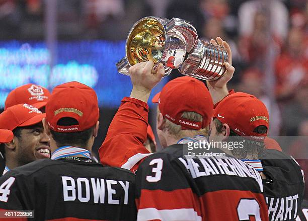 Sam Reinhart of Team Canada hoists the championship trophy after defeating Team Russia in the gold medal game in the 2015 IIHF World Junior Hockey...